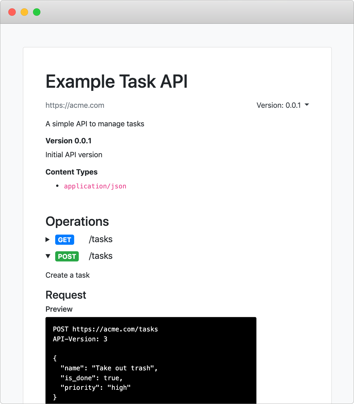 Instant API documentation generator
